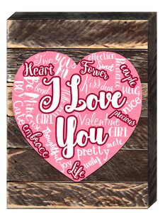 Designocracy Vintage Love Expression Heart Wooden Board