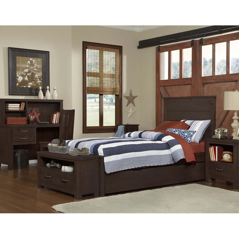 Stella Twin Panel Bed with Trundle Bed Frame Color: Espresso