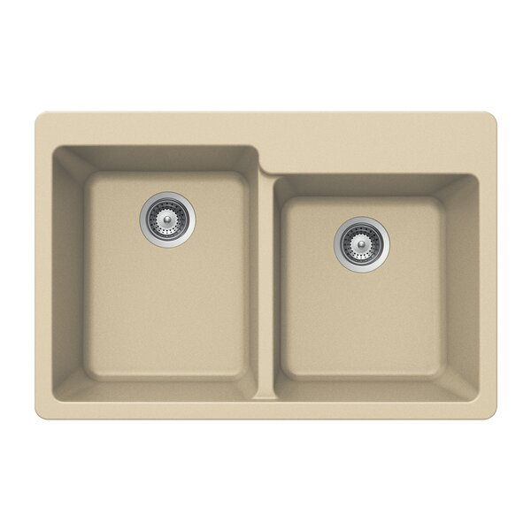 kitchen sink granite houzer quartztone 33 quot x 22 quot 60 40 bowl topmount 2727