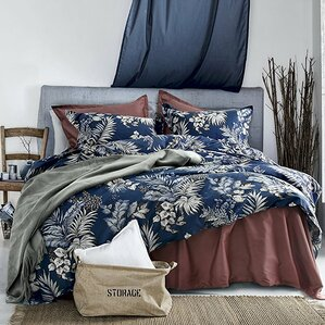osmanu modern luxury botanical minimal palm leaf floral 100 cotton 3 piece duvet set