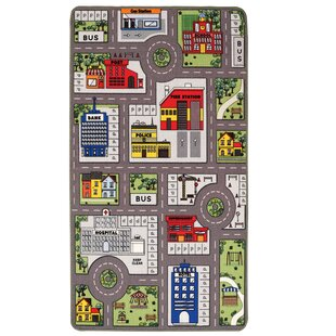 Playtime Town and Country Reversible Grey/Red Rug by Longweave