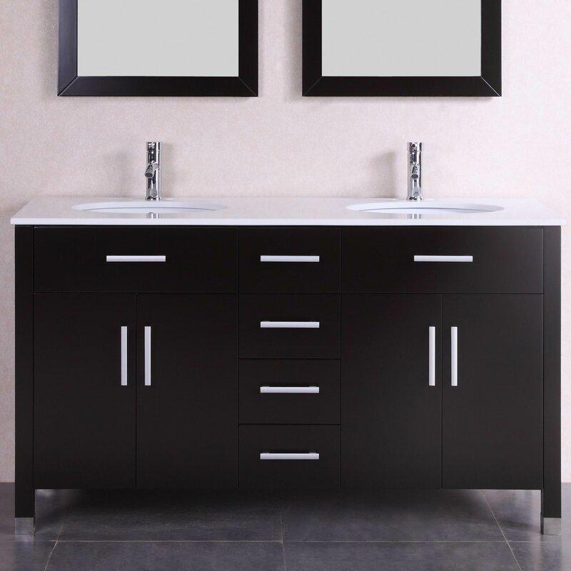 """Belvederebath 60"""" Double Modern Bathroom Vanity Set"""
