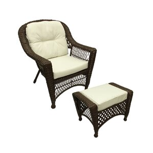 Somerset Resin Wicker Patio Chair With Cushion And Ottoman