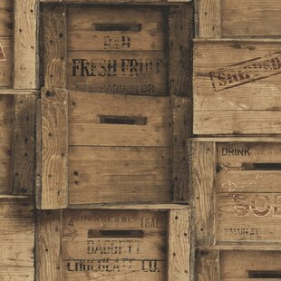 Distinctive Wood Crates 10m X 52cm Wallpaper Roll