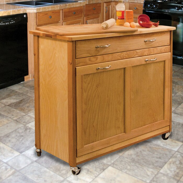 Triche Pull Out Trash Kitchen Island With Butcher Block