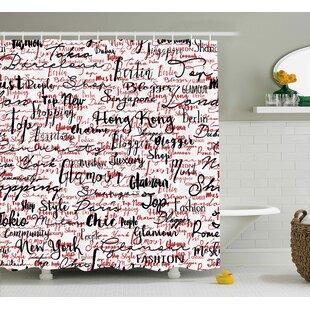 Arabelle Popular Fashion Words Shower Curtain