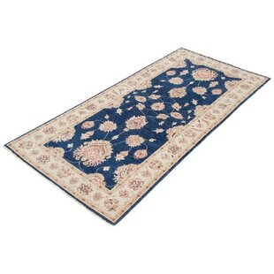 Central City Hand Knotted Wool Blue/Beige Rug by Rosalind Wheeler