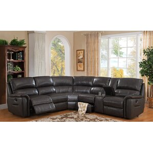 HYDELINE BY AMAX Camino Leather Reversible Reclining Sectional