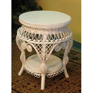 White Resin Wicker Side Table Wayfair