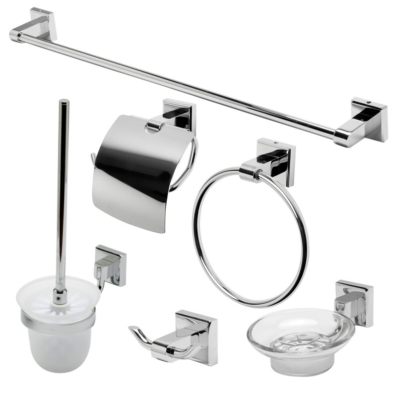 Matching 6 Piece Bathroom Accessory Set
