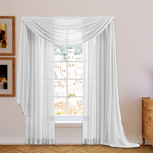 Brushgrove Solid Sheer Curtain Panels (Set Of 2)