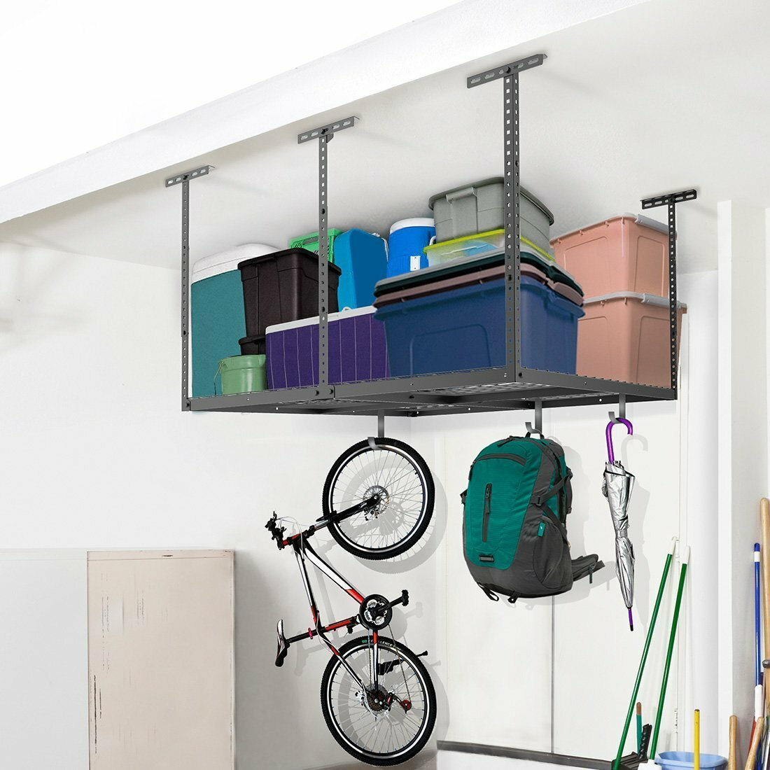 the racks shelves of collections ceiling best hanging garage mounted diy storage