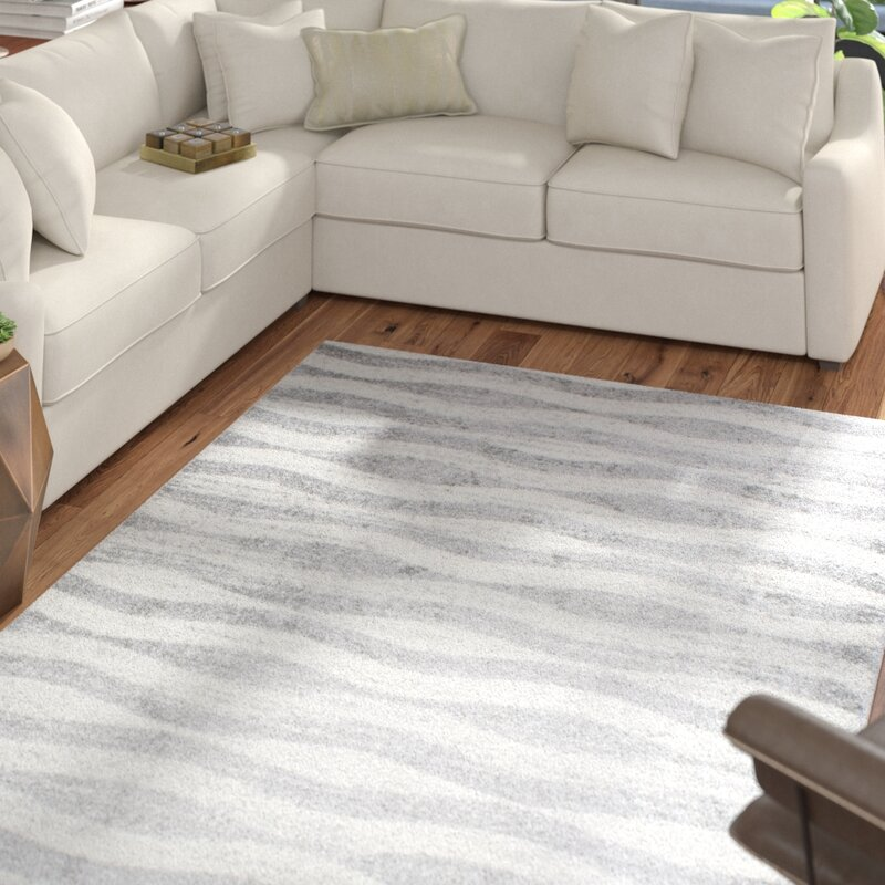 Pantheras Abstract Waves Gray White Area Rug