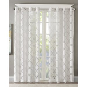 fretwork burnout geometric sheer single curtain panel