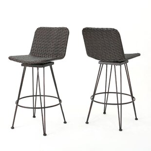 Prevost Outdoor Wicker Patio Bar Stool (Set Of 2)