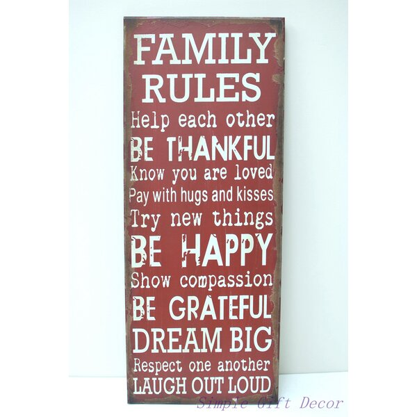 AttractionDesignHome \'Family Rules\' Wood Wall Décor & Reviews | Wayfair