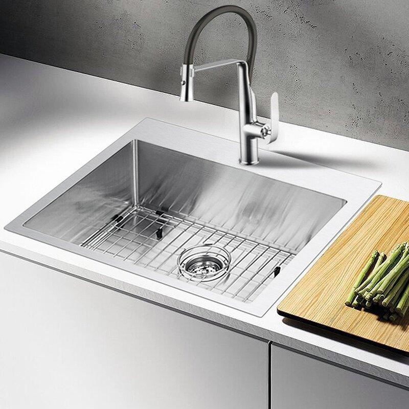 water creation 25   x 22   drop in kitchen sink water creation 25   x 22   drop in kitchen sink  u0026 reviews   joss  u0026 main  rh   jossandmain com