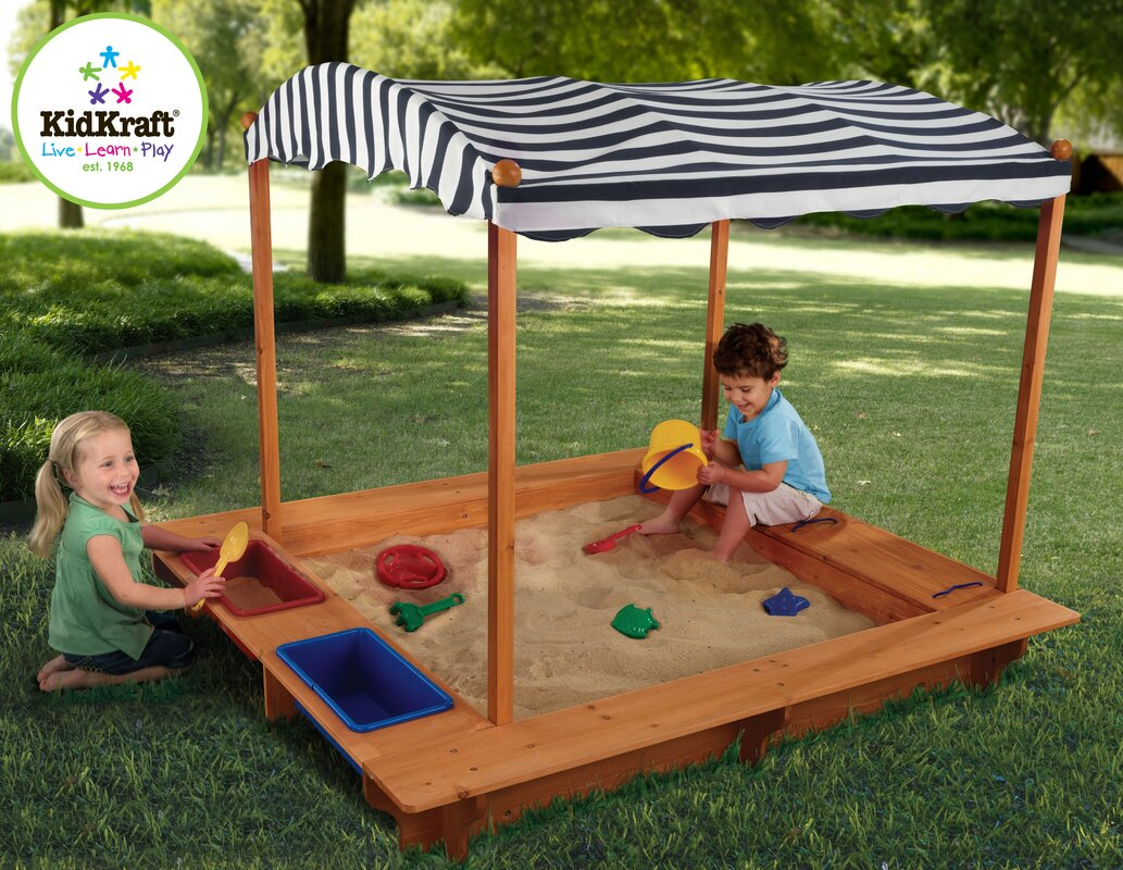5u0027 Rectangular Sandbox with Canopy  sc 1 st  Wayfair & KidKraft 5u0027 Rectangular Sandbox with Canopy u0026 Reviews | Wayfair