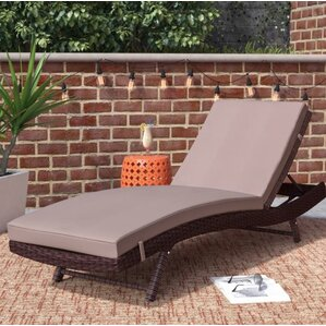 Prudence Reclining Patio Chaise Lounge with Cushion : wicker patio chaise lounge - Sectionals, Sofas & Couches