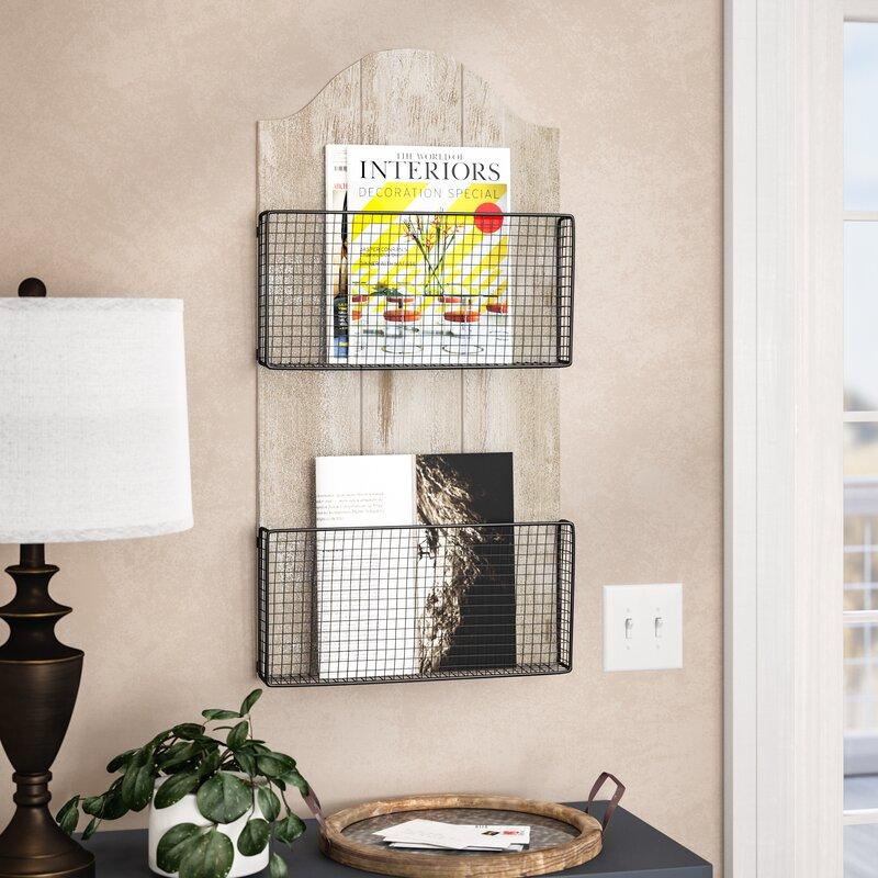 Mcgrane 16 X 32 3 Wood Metal Wire Wall Basket