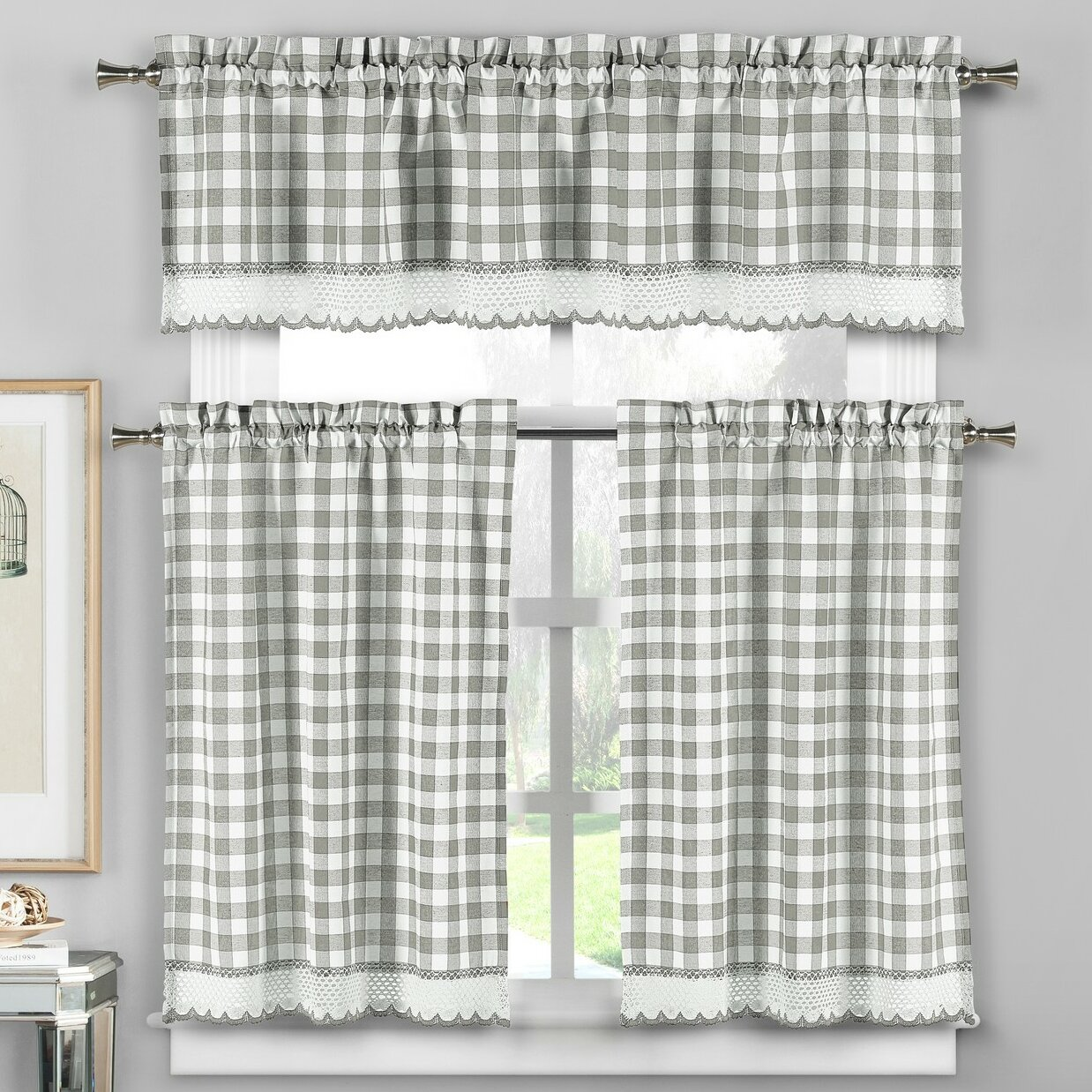 Loon Peak Cassia 3 Piece Crochet Kitchen Curtain Set Reviews Wayfair