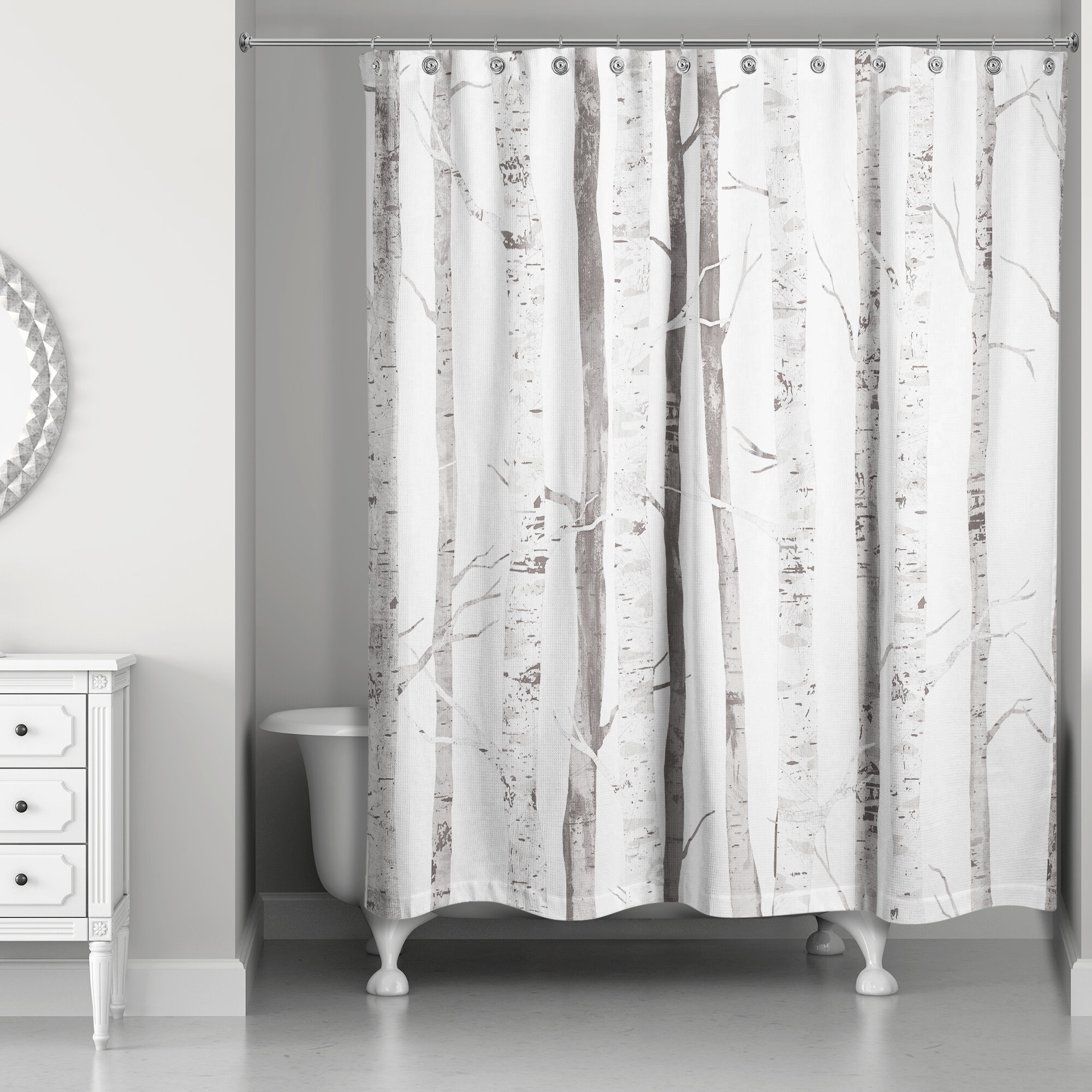 Foundry Select Bain Birch Trees Shower Curtain