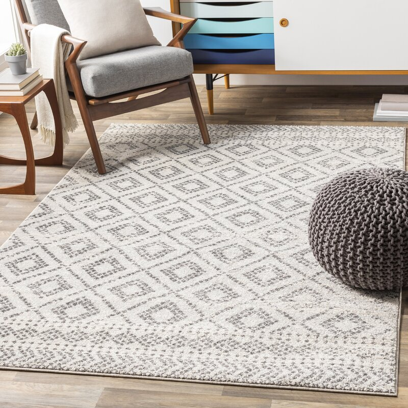 Woodrum Distressed Global Inspired Light Graywhite Area Rug