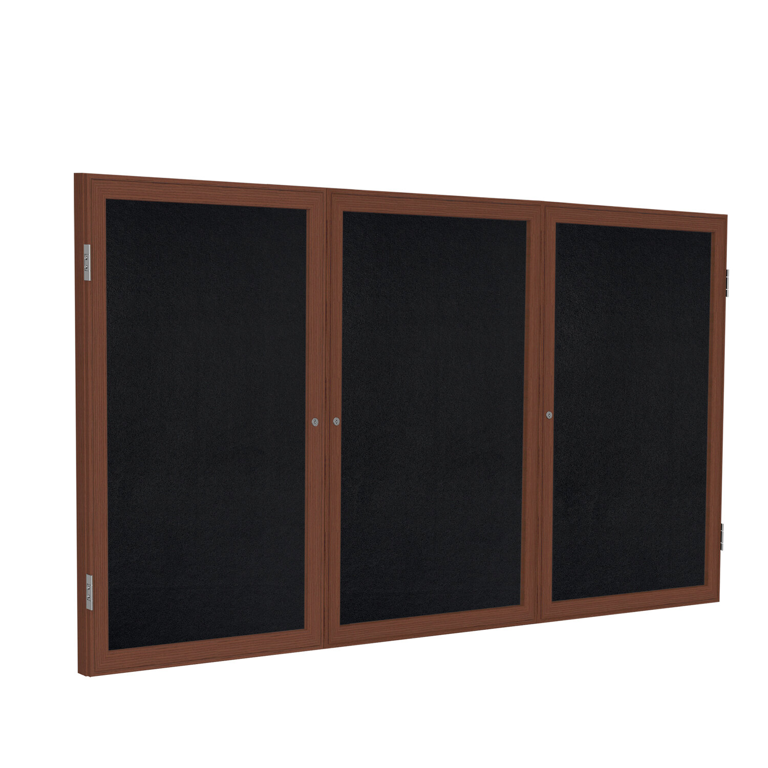 Ghent 3 Door Enclosed Recycled Rubber Bulletin Board With Wood Frame