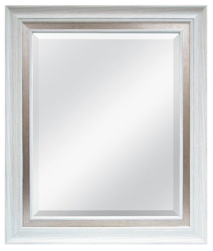 Beveled Wall Mirror lark manor white brushed steel beveled wall mirror & reviews | wayfair