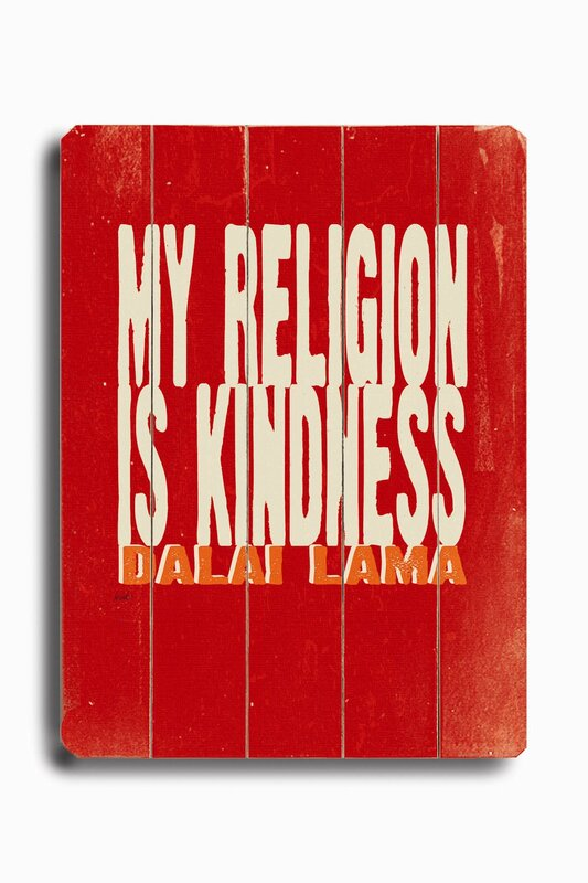 My Religion Planked by Lisa Weedn Textual Art Plaque