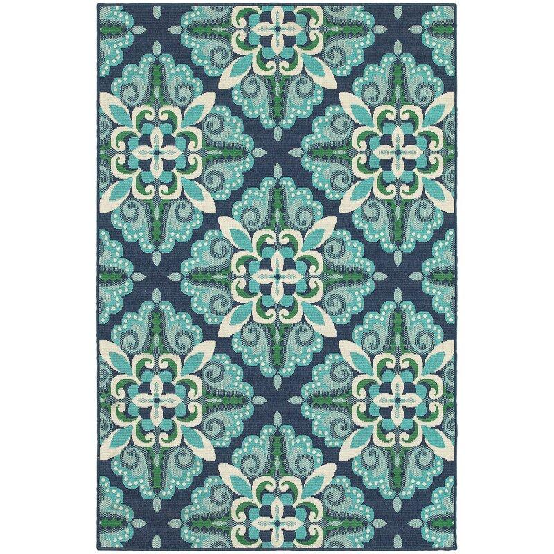 Kailani Contemporary Blue/Green Indoor/Outdoor Area Rug & Reviews ...