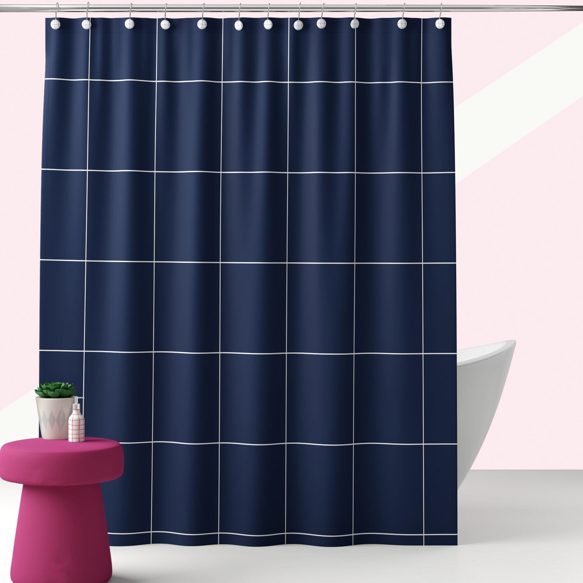 Bathroom Plain Shower Curtain 12 Matching Rings Hook Bath