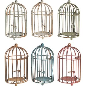 Metal Birdcage Decorative Bird House or Cage (Set of 6)