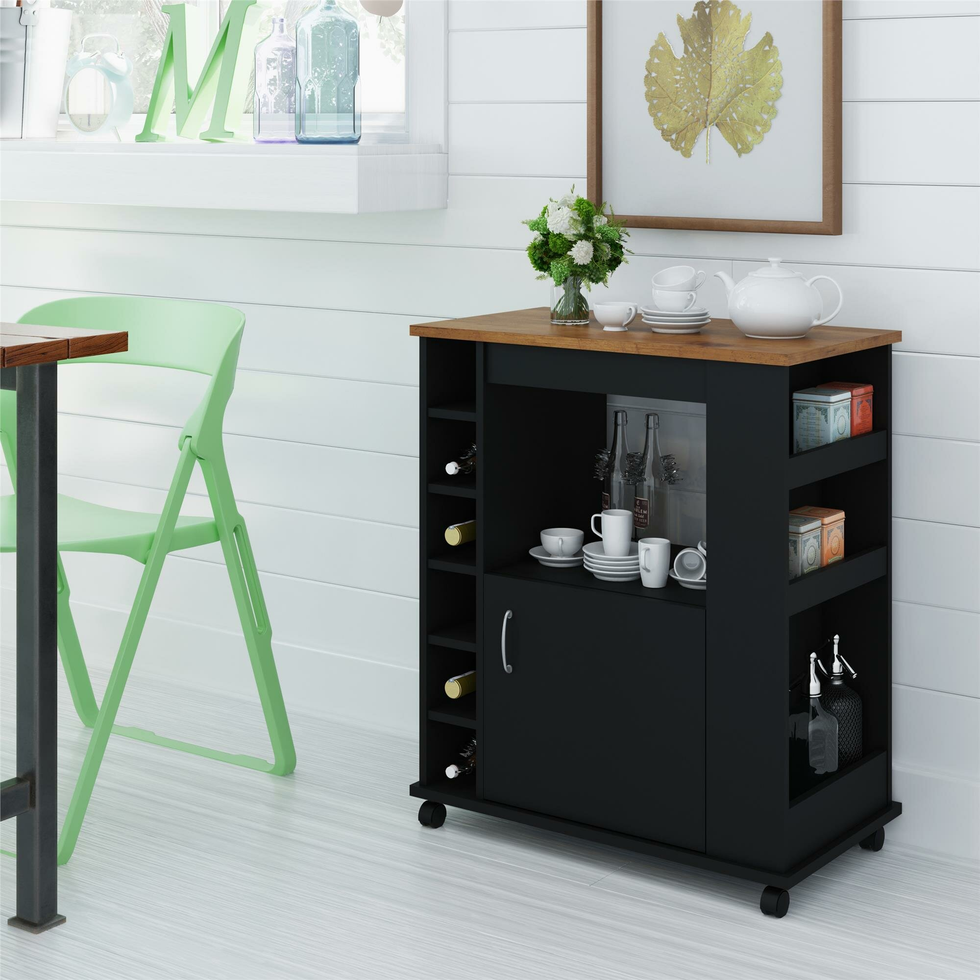 Kitchen islands carts youll love worcester kitchen cart with wood top workwithnaturefo