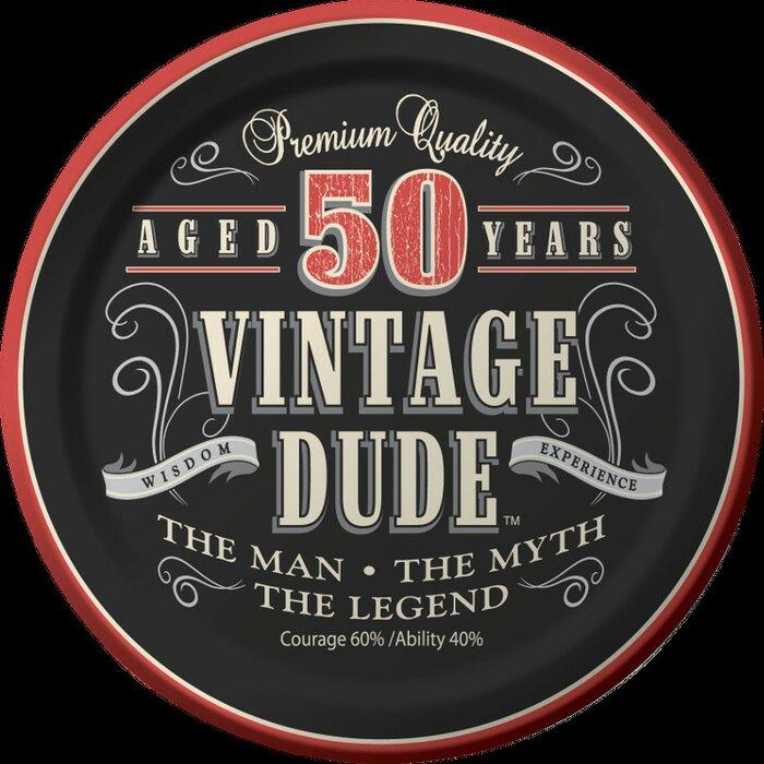 Vintage Dude 50th Birthday Dessert Plates