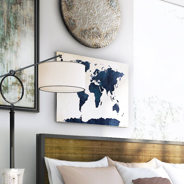Trent austin design world map navy framed graphic art print on world map navy framed graphic art print on canvas gumiabroncs Image collections