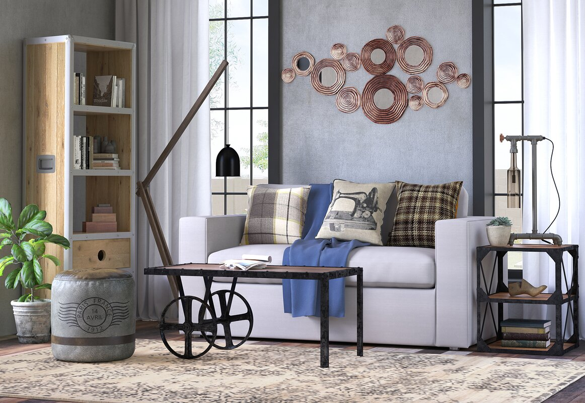 Circle Metal and Mirror Cluster Wall Decor