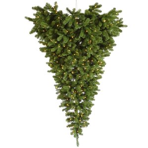American Upside Down 6u0027 Green Artificial Christmas Tree With 600 LED Lights