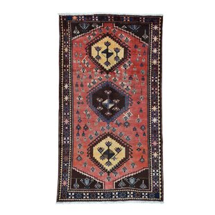 One Of A Kind Semi Afsar Ition Hand Knotted 5 6 X 9 8 Wool Red Chocolate Area Rug