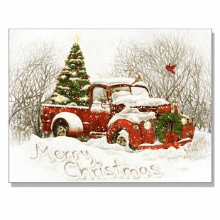 vintage christmas tree truck by opportunities framed acrylic painting print canvas in redwhite - Christmas Truck Decor