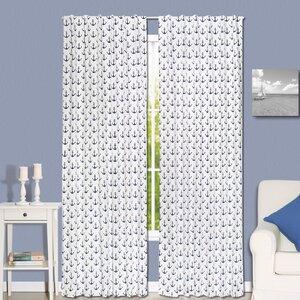 Anchor Nautical Semi-Sheer Rod Pocket Curtain Panels (Set of 2)