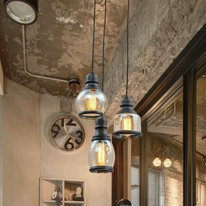 glass jar 3light pendant light