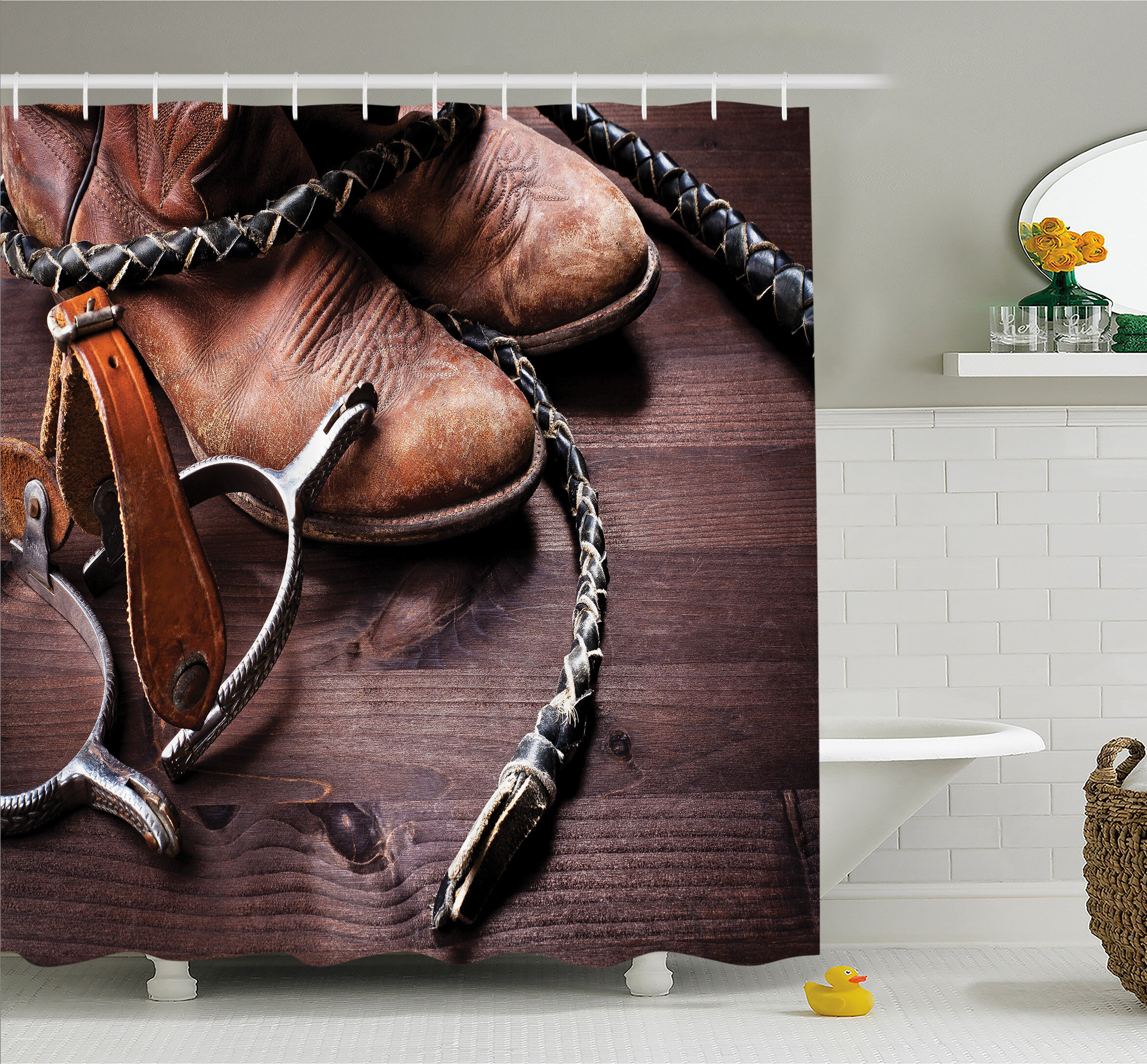 Ambesonne Western Authentic Old Leather Boots And Spurs Rustic Rodeo  Equipment USA Style Art Picture Shower Curtain Set | Wayfair