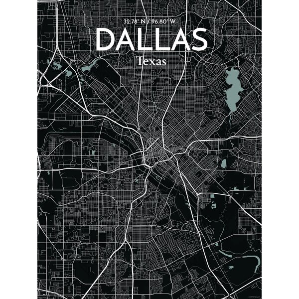 Ourposter Com Dallas City Map Graphic Art Print Poster In Midnight