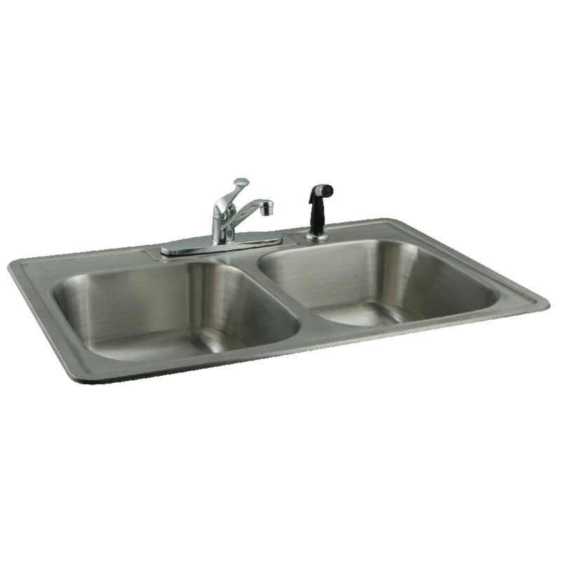 Kingston Brass 33 L X 22 W Double Basin Undermount Kitchen Sink
