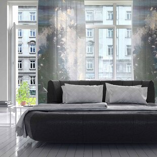 The Crest Abstract Sheer Rod Pocket Curtain Panels (Set Of 2)