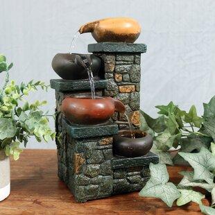 Braydon Fiberglass Tiered Pitchers On Brick Steps Tabletop Fountain With  Light