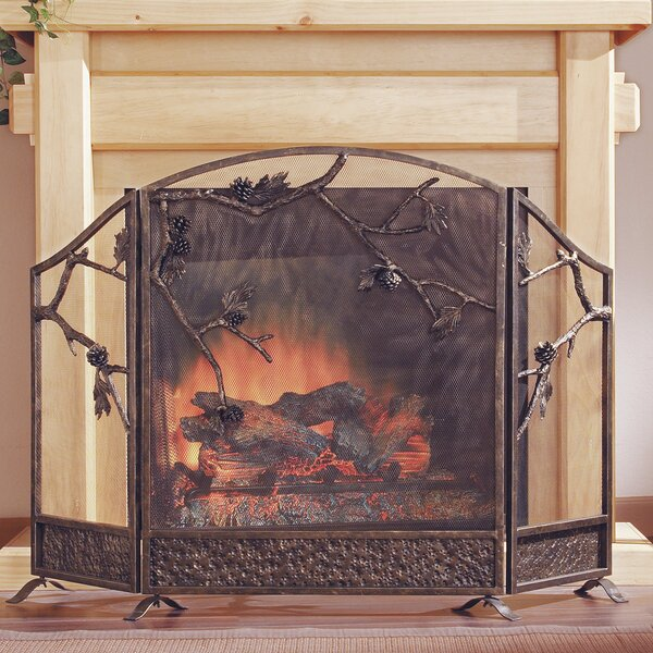 SPI Home Pinecone 3 Panel Cast Iron Fireplace Screen & Reviews ...
