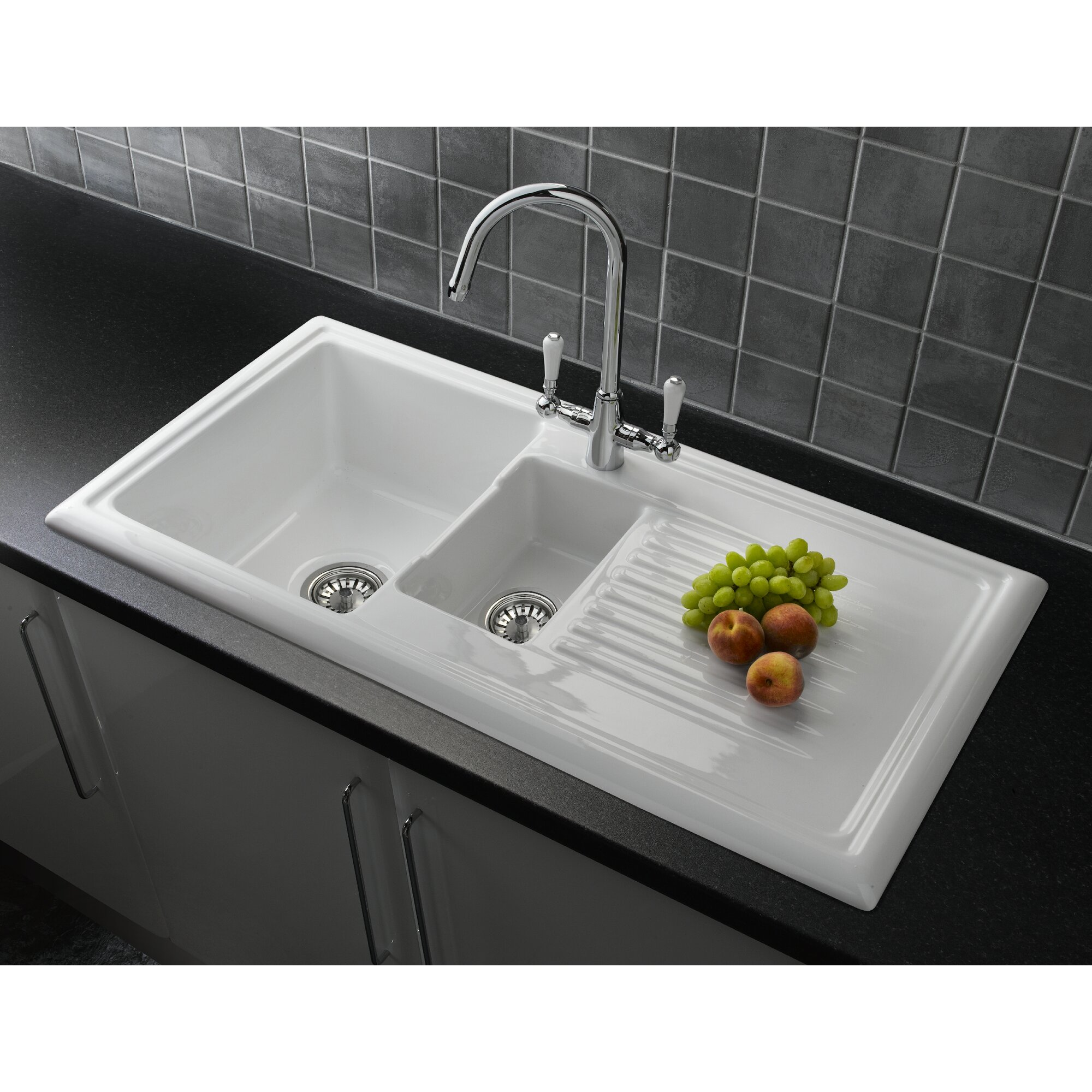 116 cm stainless steel double bowl single drainer inset sink right - 101cm X 52 5cm Bowl Inset Kitchen Sink With Waste