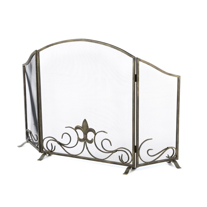 Fireplace Design cast iron fireplace screen : SPI Home Fleur de Lis 3 Panel Iron Fireplace Screen & Reviews ...